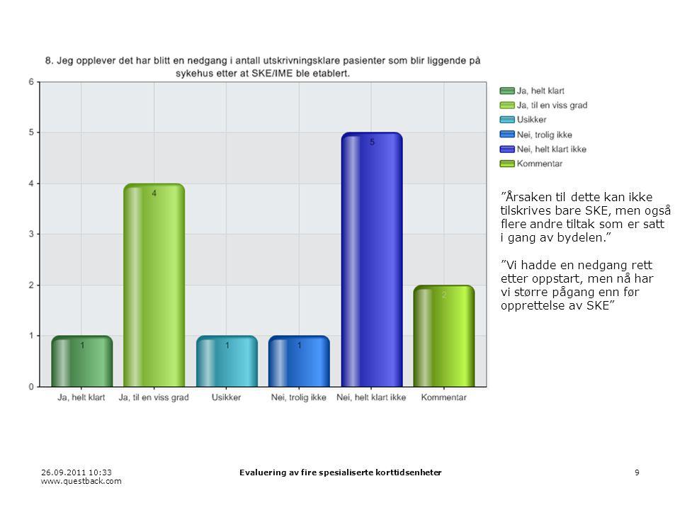 """26.09.2011 10:33 www.questback.com Evaluering av fire spesialiserte korttidsenheter9 """"Årsaken til dette kan ikke tilskrives bare SKE, men også flere a"""