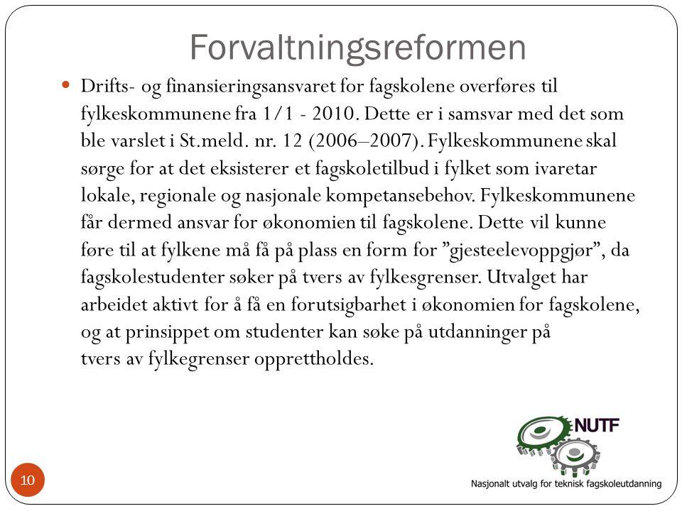 Forvaltningsreformen  Drifts- og finansieringsansvaret for fagskolene overføres til fylkeskommunene fra 1/1 - 2010. Dette er i samsvar med det som bl