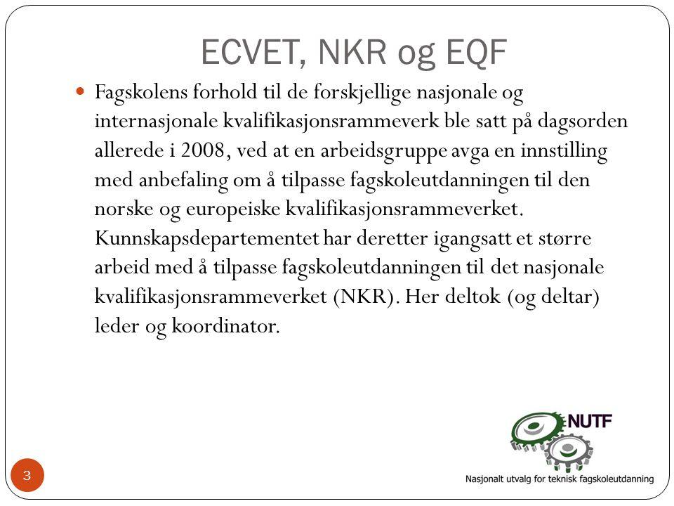ECVET, NKR og EQF  Fagskolens forhold til de forskjellige nasjonale og internasjonale kvalifikasjonsrammeverk ble satt på dagsorden allerede i 2008,