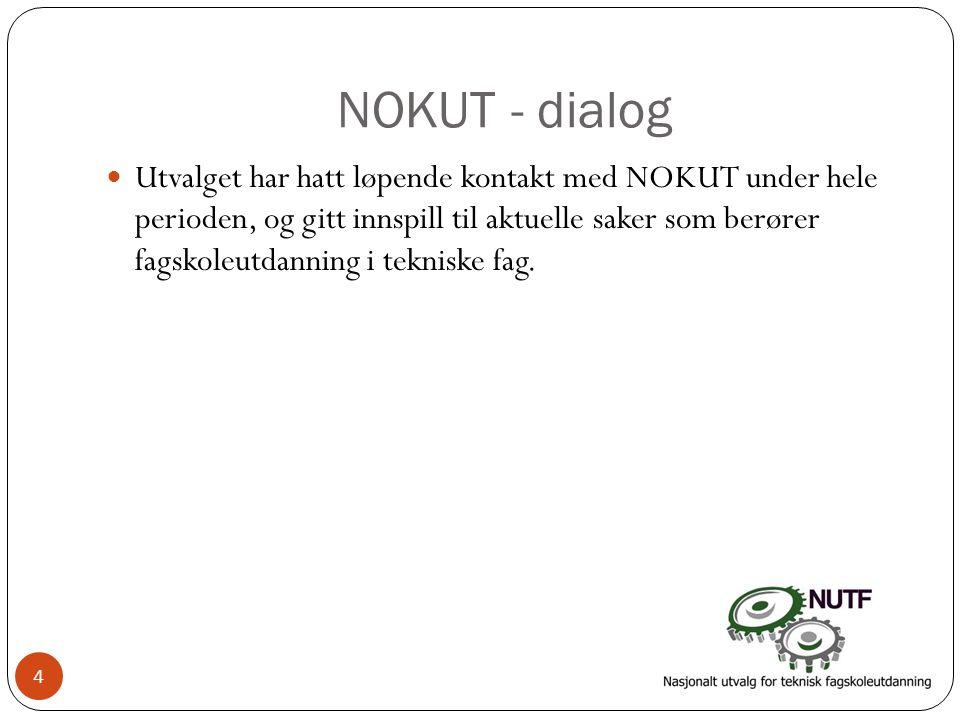 NOKUT - dialog  Utvalget har hatt løpende kontakt med NOKUT under hele perioden, og gitt innspill til aktuelle saker som berører fagskoleutdanning i