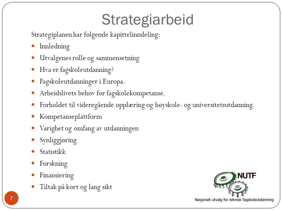 Strategiarbeid Strategiplanen har følgende kapittelinndeling:  Innledning  Utvalgenes rolle og sammensetning  Hva er fagskoleutdanning?  Fagskoleu