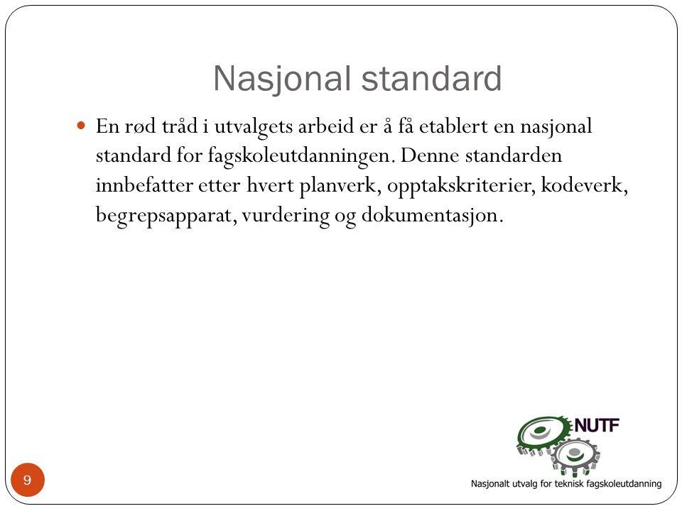 Nasjonal standard  En rød tråd i utvalgets arbeid er å få etablert en nasjonal standard for fagskoleutdanningen. Denne standarden innbefatter etter h