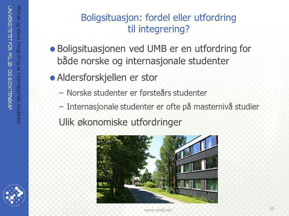 UNIVERSITETET FOR MILJØ- OG BIOVITENSKAP www.umb.no Mottak og sosial integrering av internasjonale studenter 10 Boligsituasjon: fordel eller utfordring til integrering.