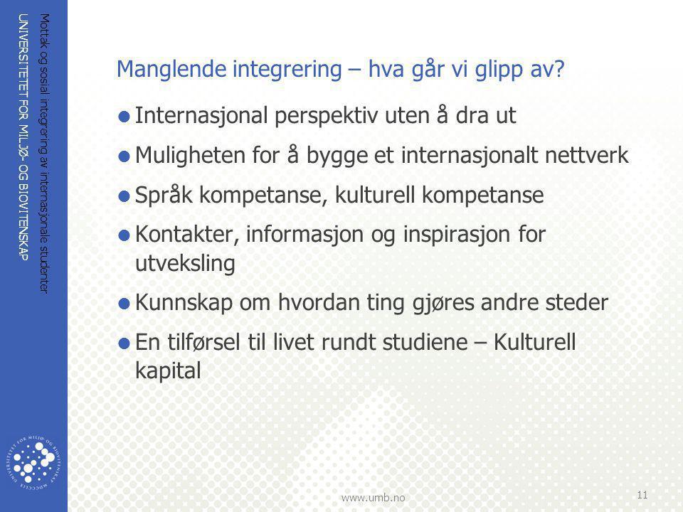 UNIVERSITETET FOR MILJØ- OG BIOVITENSKAP www.umb.no Mottak og sosial integrering av internasjonale studenter 11 Manglende integrering – hva går vi gli