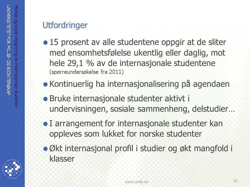 UNIVERSITETET FOR MILJØ- OG BIOVITENSKAP www.umb.no Mottak og sosial integrering av internasjonale studenter 12 Utfordringer  15 prosent av alle stud