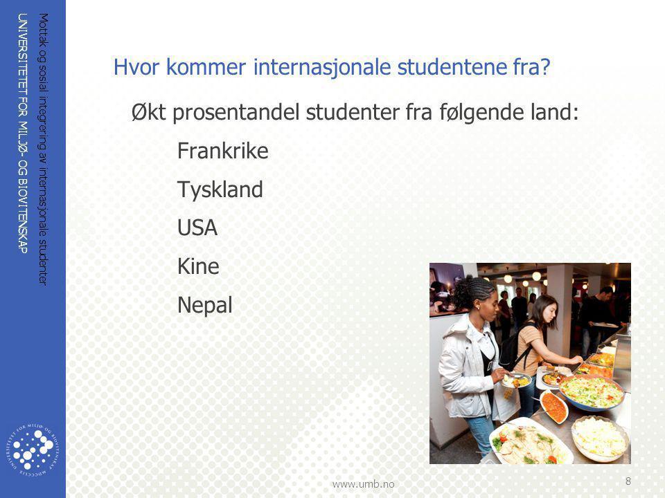 UNIVERSITETET FOR MILJØ- OG BIOVITENSKAP www.umb.no Mottak og sosial integrering av internasjonale studenter 8 Hvor kommer internasjonale studentene f