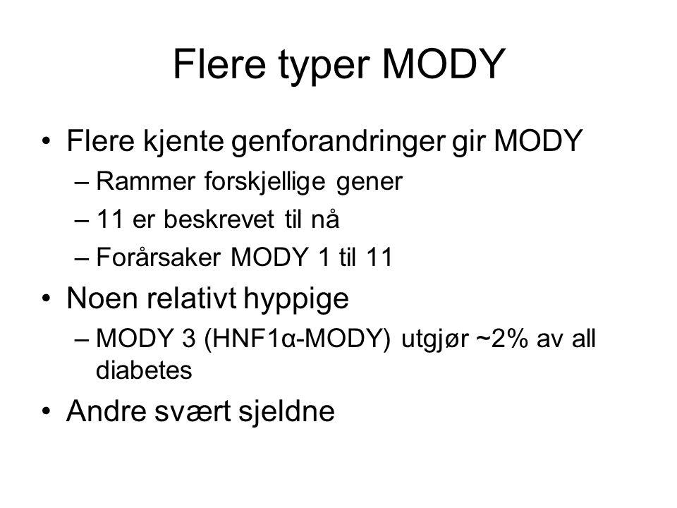 Flere typer MODY •Flere kjente genforandringer gir MODY –Rammer forskjellige gener –11 er beskrevet til nå –Forårsaker MODY 1 til 11 •Noen relativt hyppige –MODY 3 (HNF1α-MODY) utgjør ~2% av all diabetes •Andre svært sjeldne