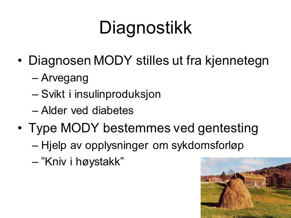 Diagnostikk •Diagnosen MODY stilles ut fra kjennetegn –Arvegang –Svikt i insulinproduksjon –Alder ved diabetes •Type MODY bestemmes ved gentesting –Hjelp av opplysninger om sykdomsforløp – Kniv i høystakk
