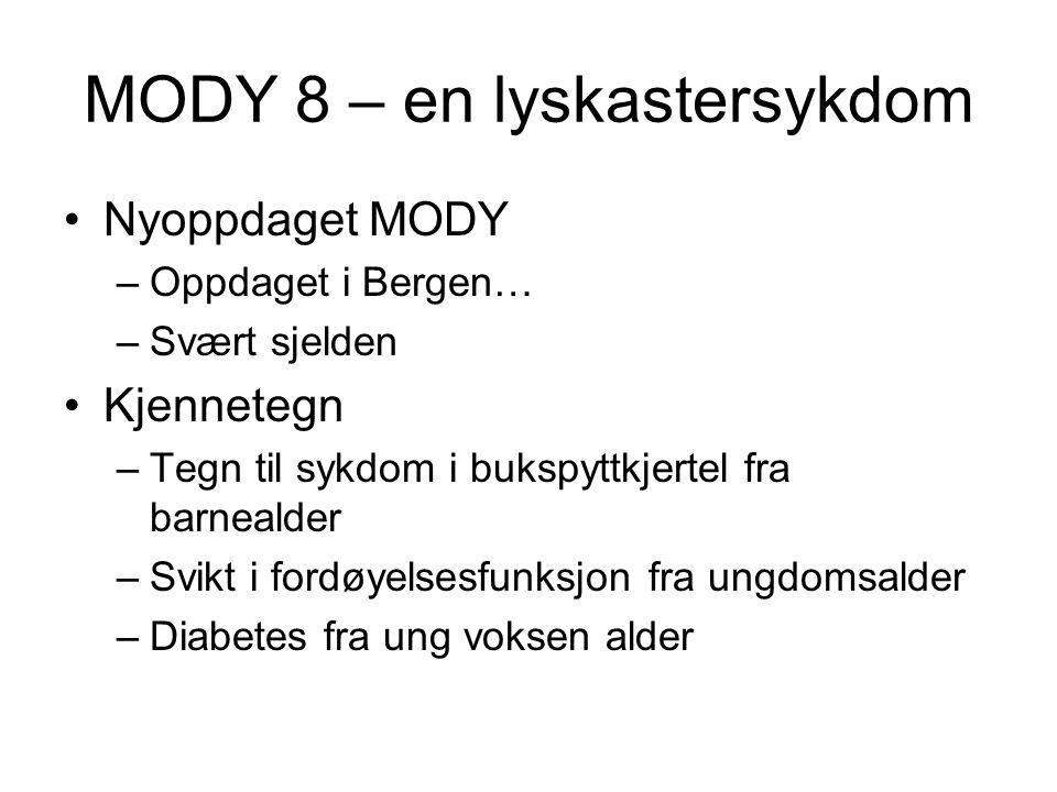 MODY 8 – en lyskastersykdom •Nyoppdaget MODY –Oppdaget i Bergen… –Svært sjelden •Kjennetegn –Tegn til sykdom i bukspyttkjertel fra barnealder –Svikt i fordøyelsesfunksjon fra ungdomsalder –Diabetes fra ung voksen alder