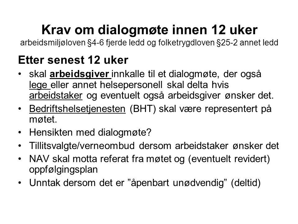 Krav om dialogmøte innen 12 uker arbeidsmiljøloven §4-6 fjerde ledd og folketrygdloven §25-2 annet ledd Etter senest 12 uker •skal arbeidsgiver innkal