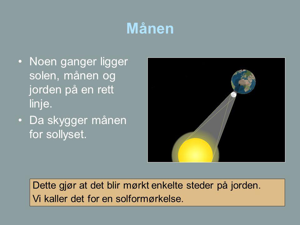 Månen •Noen ganger ligger solen, månen og jorden på en rett linje. •Da skygger månen for sollyset. Dette gjør at det blir mørkt enkelte steder på jord