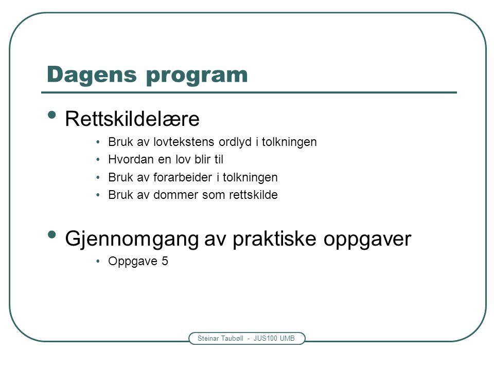 Steinar Taubøll - JUS100 UMB Dagens program • Rettskildelære •Bruk av lovtekstens ordlyd i tolkningen •Hvordan en lov blir til •Bruk av forarbeider i