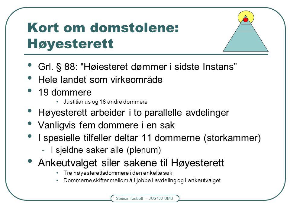 Steinar Taubøll - JUS100 UMB Kort om domstolene: Høyesterett • Grl. § 88: