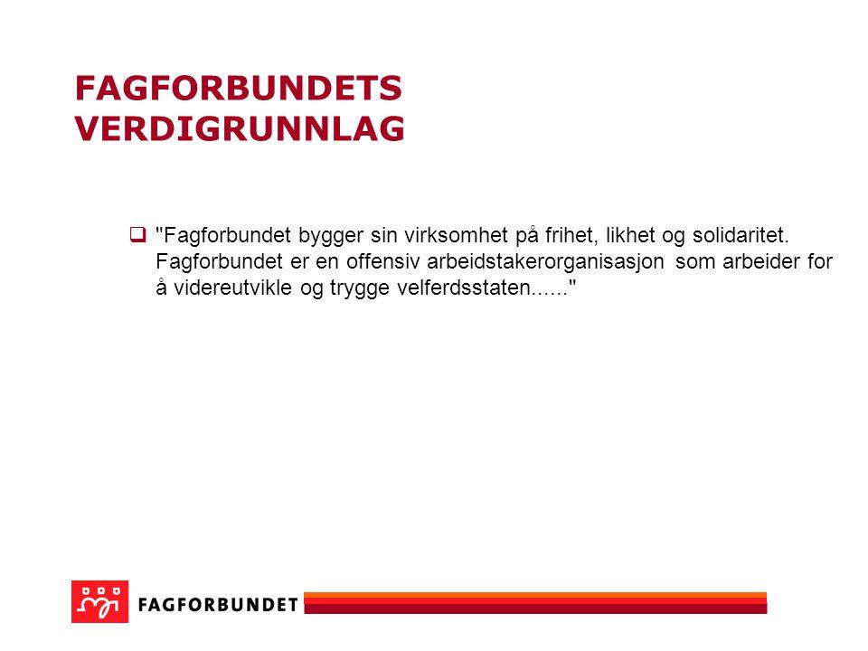 FAGFORBUNDETS VERDIGRUNNLAG  Fagforbundet bygger sin virksomhet på frihet, likhet og solidaritet.