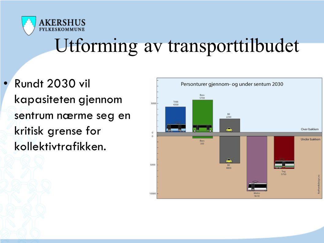 Utforming av transporttilbudet • Rundt 2030 vil kapasiteten gjennom sentrum nærme seg en kritisk grense for kollektivtrafikken.