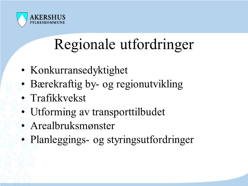 Regionale utfordringer •Konkurransedyktighet •Bærekraftig by- og regionutvikling •Trafikkvekst •Utforming av transporttilbudet •Arealbruksmønster •Pla