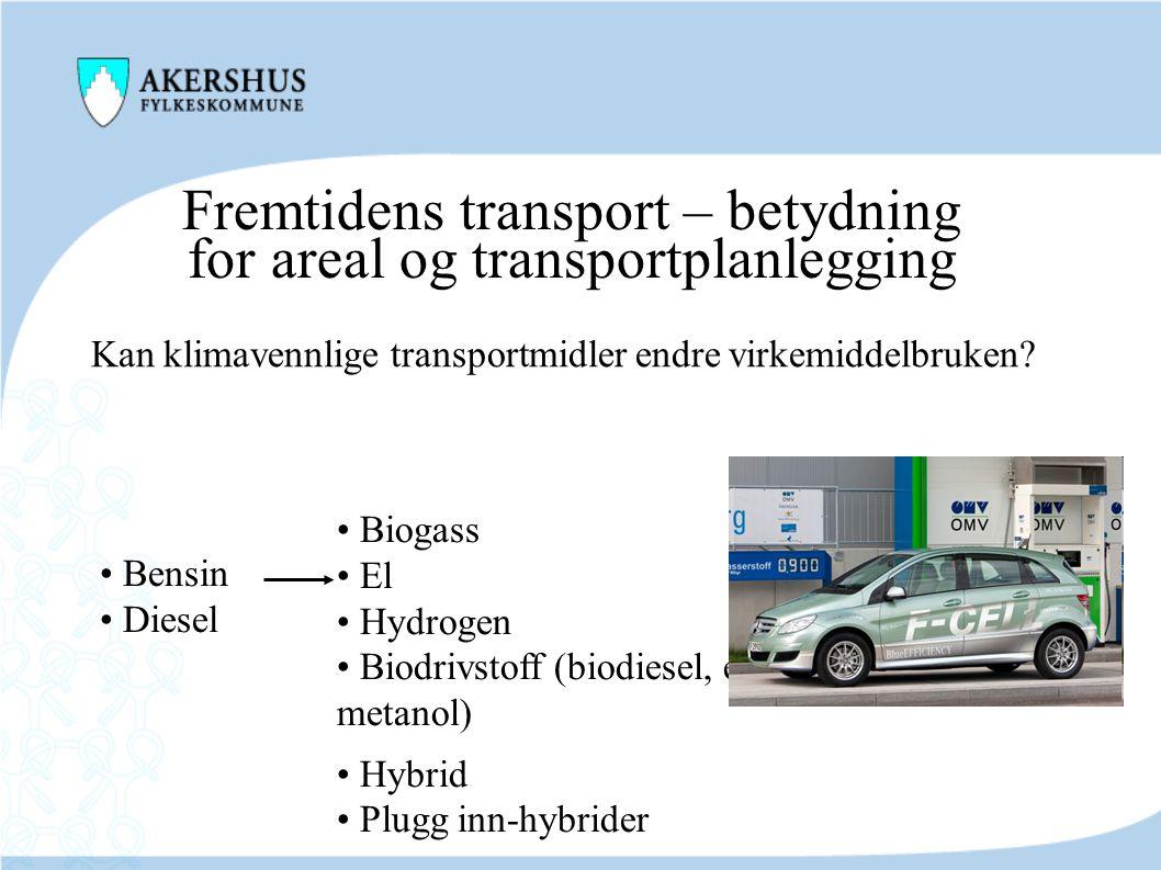 Fremtidens transport – betydning for areal og transportplanlegging Kan klimavennlige transportmidler endre virkemiddelbruken? • Bensin • Diesel • Biog