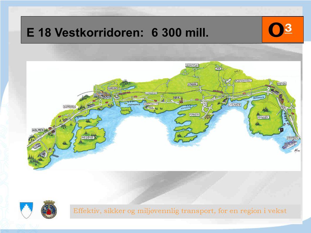E 18 Vestkorridoren: 6 300 mill. Effektiv, sikker og miljøvennlig transport, for en region i vekst O3O3