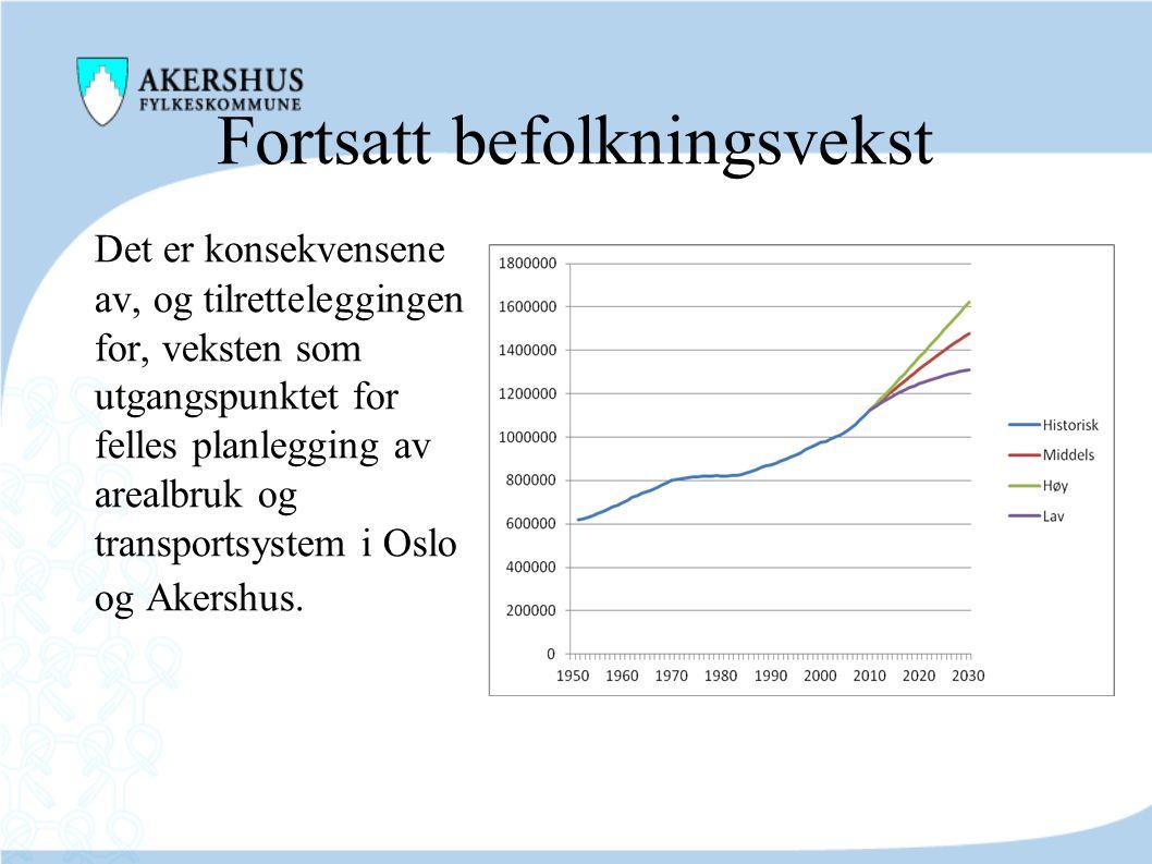 Fortsatt befolkningsvekst Det er konsekvensene av, og tilretteleggingen for, veksten som utgangspunktet for felles planlegging av arealbruk og transpo