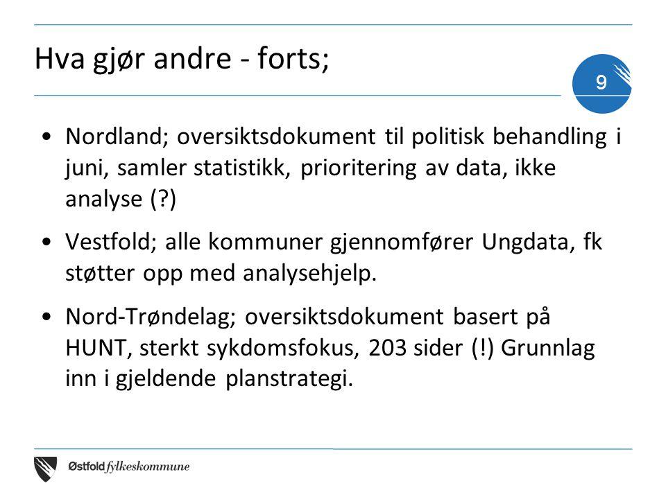 Hva gjør andre - forts; •Nordland; oversiktsdokument til politisk behandling i juni, samler statistikk, prioritering av data, ikke analyse (?) •Vestfold; alle kommuner gjennomfører Ungdata, fk støtter opp med analysehjelp.