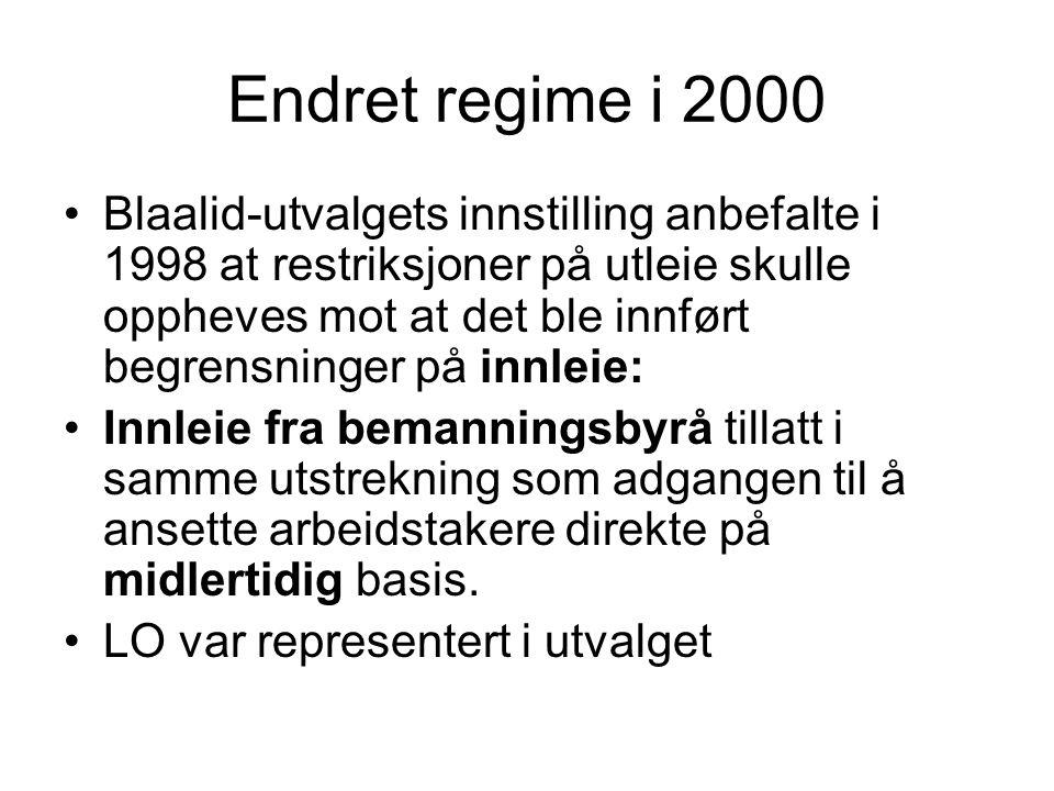 Endret regime i 2000 •Blaalid-utvalgets innstilling anbefalte i 1998 at restriksjoner på utleie skulle oppheves mot at det ble innført begrensninger p