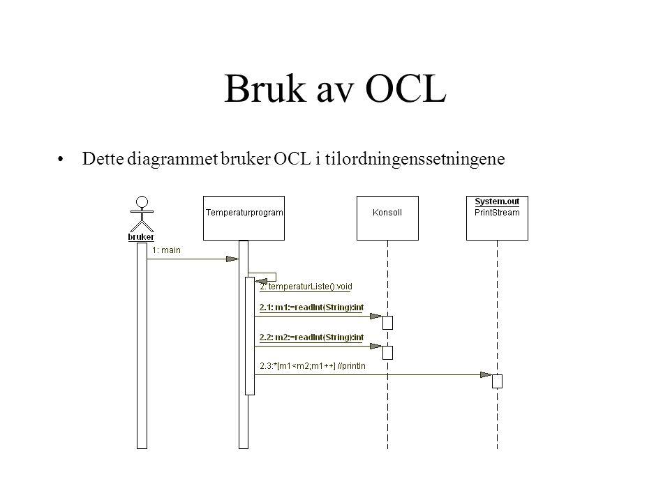Bruk av OCL •Dette diagrammet bruker OCL i tilordningenssetningene