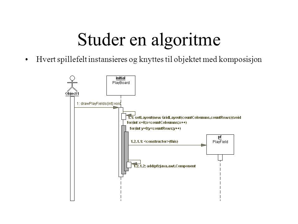 Studer en algoritme •Hvert spillefelt instansieres og knyttes til objektet med komposisjon