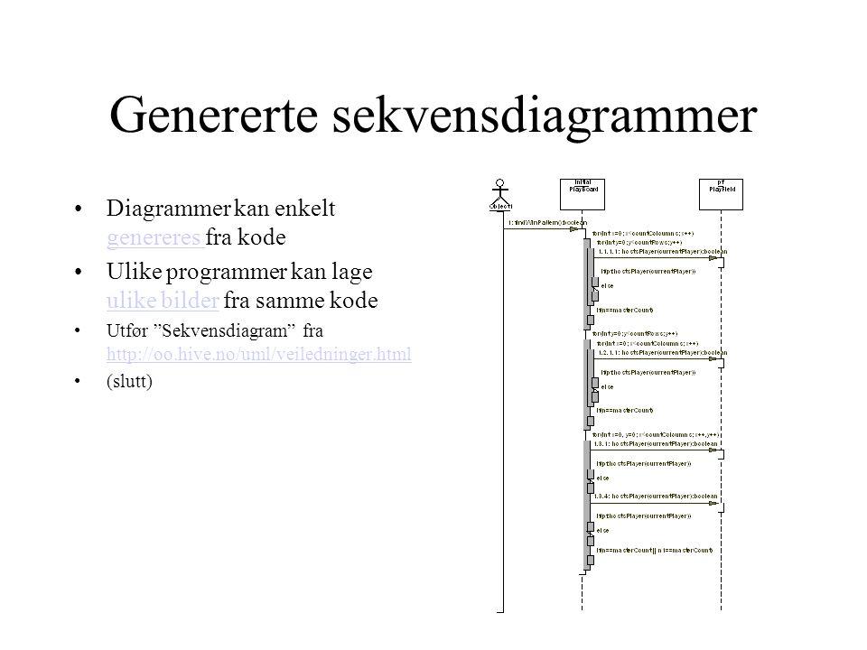 Genererte sekvensdiagrammer •Diagrammer kan enkelt genereres fra kode genereres •Ulike programmer kan lage ulike bilder fra samme kode ulike bilder •Utfør Sekvensdiagram fra http://oo.hive.no/uml/veiledninger.html http://oo.hive.no/uml/veiledninger.html •(slutt)