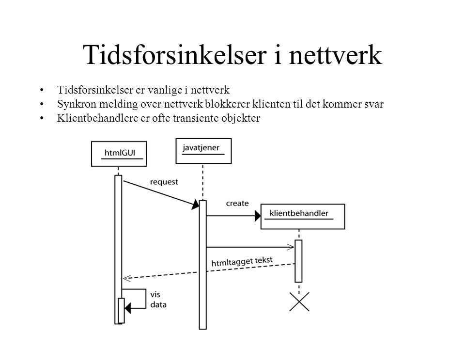 Tidsforsinkelser i nettverk •Tidsforsinkelser er vanlige i nettverk •Synkron melding over nettverk blokkerer klienten til det kommer svar •Klientbehandlere er ofte transiente objekter