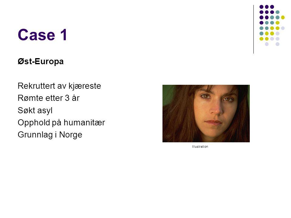 Case 1 Øst-Europa Rekruttert av kjæreste Rømte etter 3 år Søkt asyl Opphold på humanitær Grunnlag i Norge Illustration