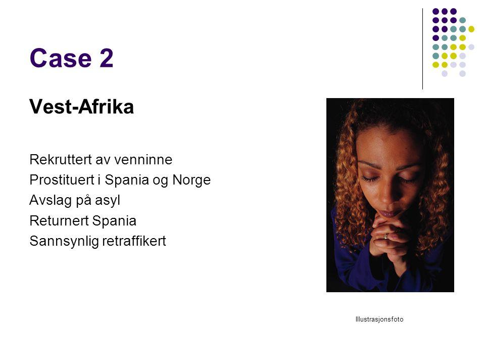 Case 2 Vest-Afrika Rekruttert av venninne Prostituert i Spania og Norge Avslag på asyl Returnert Spania Sannsynlig retraffikert Illustrasjonsfoto
