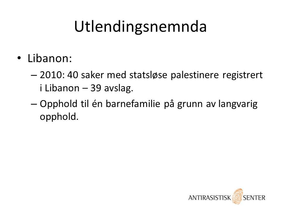 Utlendingsnemnda • Libanon: – 2010: 40 saker med statsløse palestinere registrert i Libanon – 39 avslag. – Opphold til én barnefamilie på grunn av lan