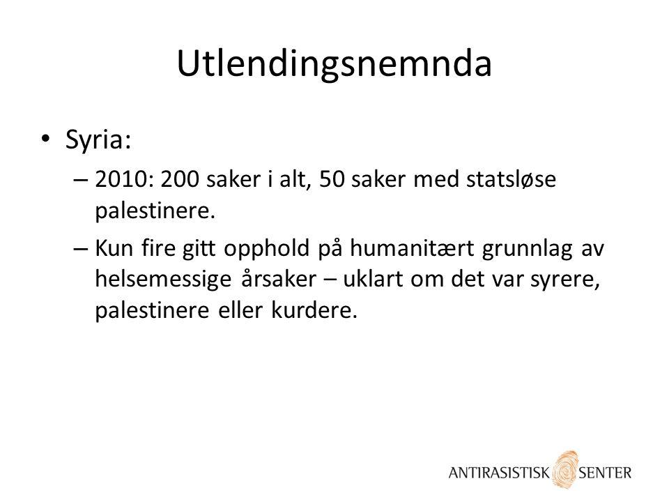 Utlendingsnemnda • Syria: – 2010: 200 saker i alt, 50 saker med statsløse palestinere. – Kun fire gitt opphold på humanitært grunnlag av helsemessige