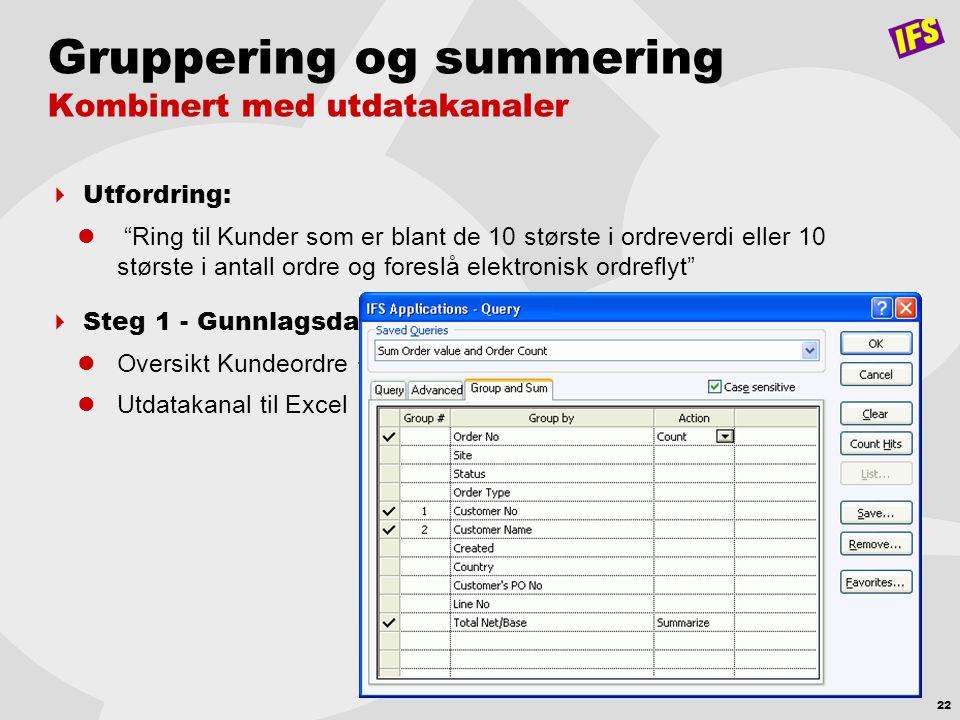 """22 Gruppering og summering Kombinert med utdatakanaler  Utfordring:  """"Ring til Kunder som er blant de 10 største i ordreverdi eller 10 største i ant"""