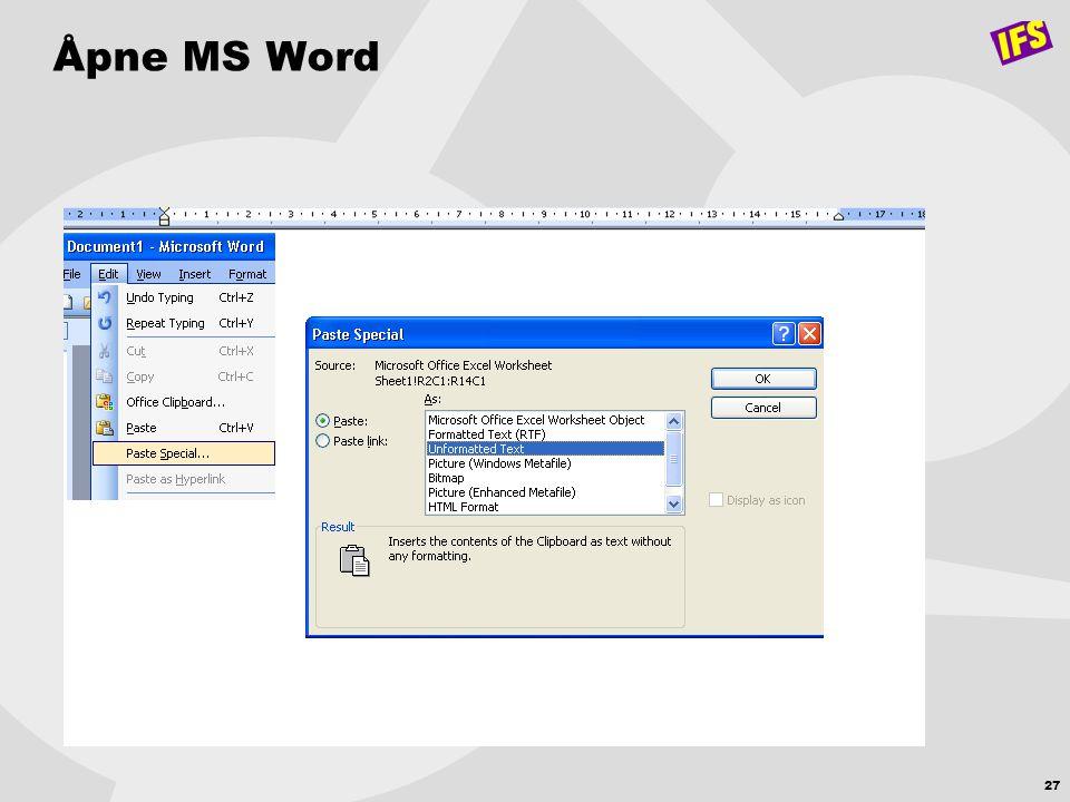 27 Åpne MS Word