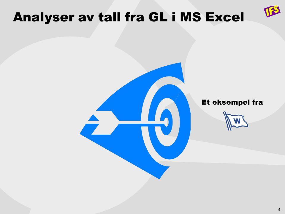 4 Analyser av tall fra GL i MS Excel Et eksempel fra