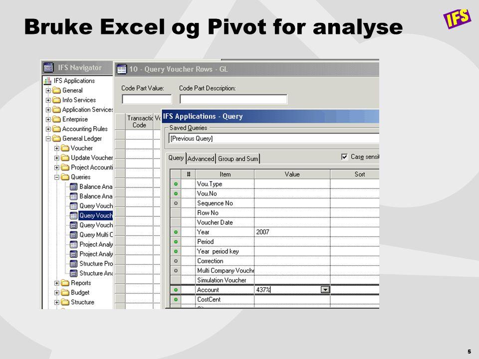 5 Bruke Excel og Pivot for analyse