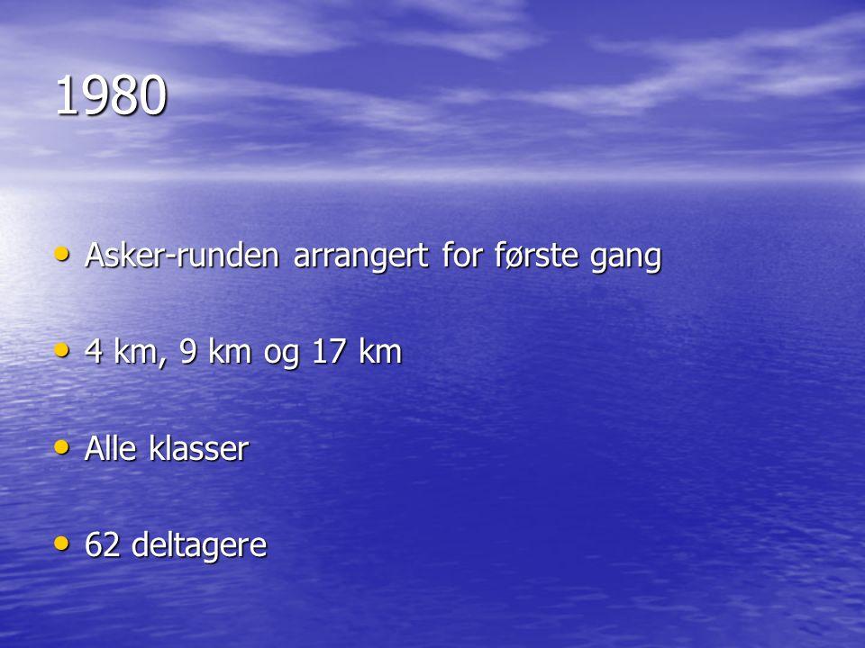 1980 • Asker-runden arrangert for første gang • 4 km, 9 km og 17 km • Alle klasser • 62 deltagere