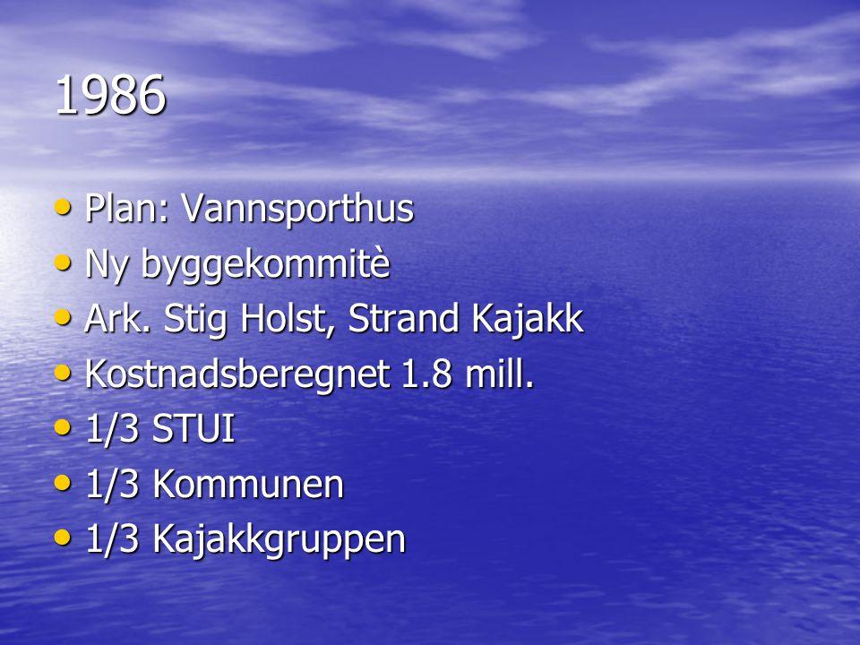 1986 • Plan: Vannsporthus • Ny byggekommitè • Ark. Stig Holst, Strand Kajakk • Kostnadsberegnet 1.8 mill. • 1/3 STUI • 1/3 Kommunen • 1/3 Kajakkgruppe