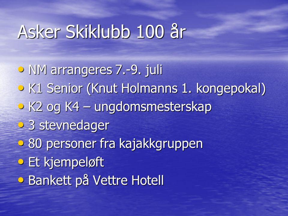 Asker Skiklubb 100 år • NM arrangeres 7.-9. juli • K1 Senior (Knut Holmanns 1. kongepokal) • K2 og K4 – ungdomsmesterskap • 3 stevnedager • 80 persone