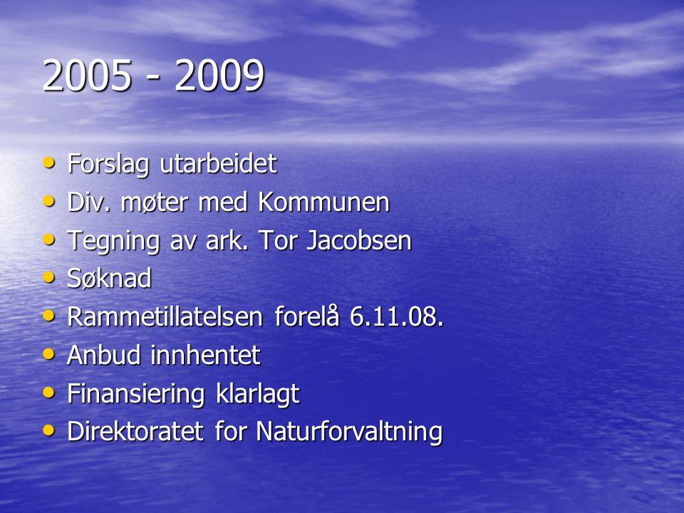 2005 - 2009 • Forslag utarbeidet • Div. møter med Kommunen • Tegning av ark. Tor Jacobsen • Søknad • Rammetillatelsen forelå 6.11.08. • Anbud innhente