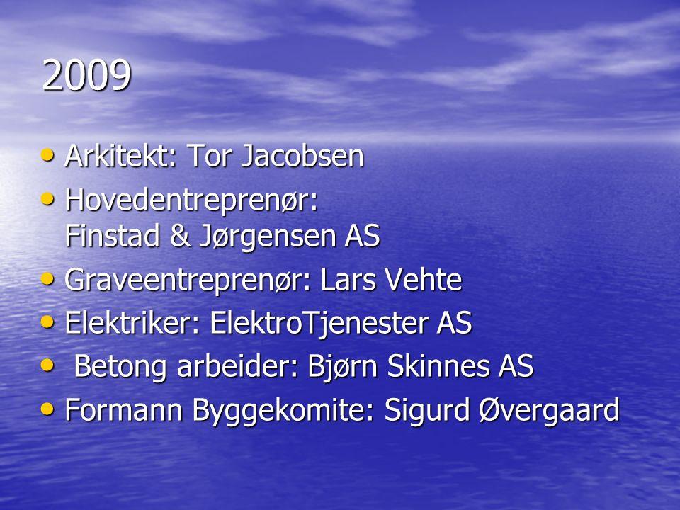 2009 • Arkitekt: Tor Jacobsen • Hovedentreprenør: Finstad & Jørgensen AS • Graveentreprenør: Lars Vehte • Elektriker: ElektroTjenester AS • Betong arb