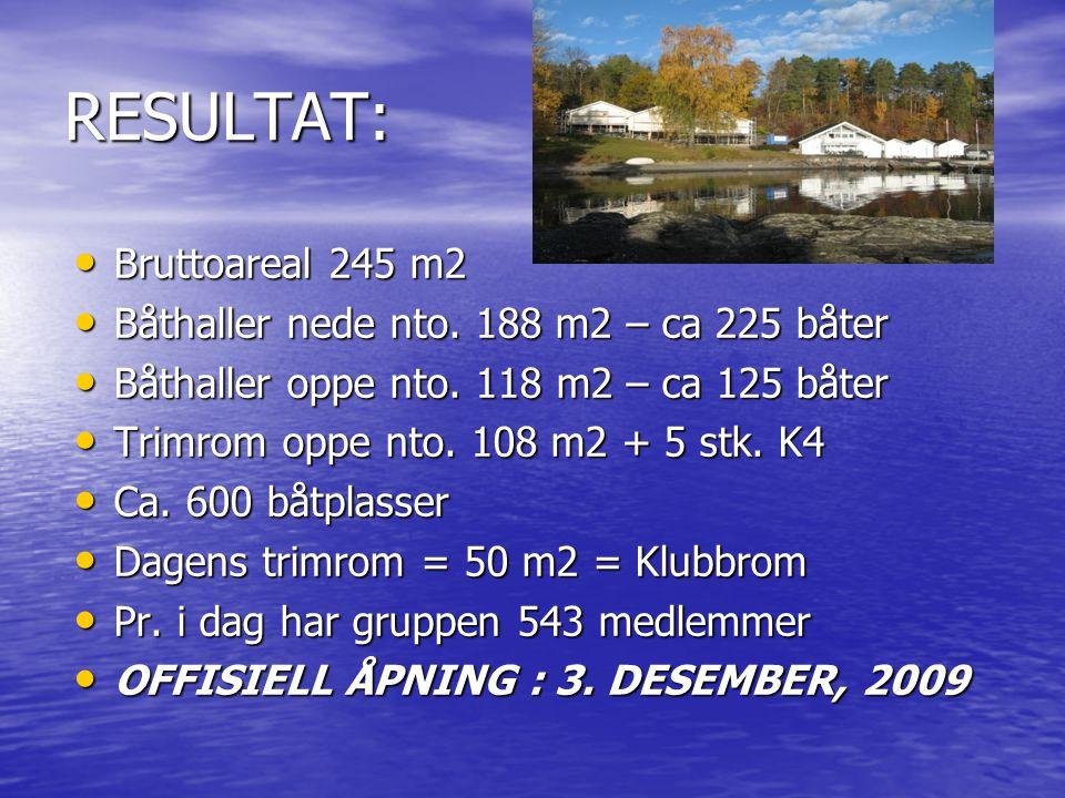 RESULTAT: • Bruttoareal 245 m2 • Båthaller nede nto. 188 m2 – ca 225 båter • Båthaller oppe nto. 118 m2 – ca 125 båter • Trimrom oppe nto. 108 m2 + 5