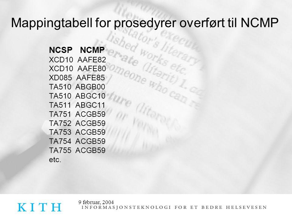 9 februar, 2004 Mappingtabell for prosedyrer overført til NCMP NCSP NCMP XCD10 AAFE82 XCD10 AAFE80 XD085 AAFE85 TA510 ABGB00 TA510 ABGC10 TA511 ABGC11