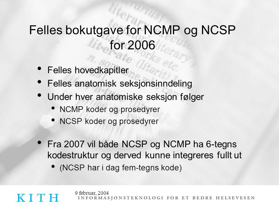9 februar, 2004 Felles bokutgave for NCMP og NCSP for 2006 • Felles hovedkapitler • Felles anatomisk seksjonsinndeling • Under hver anatomiske seksjon