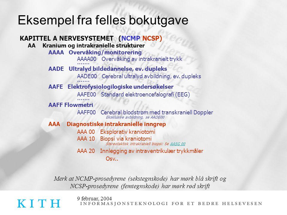 9 februar, 2004 Eksempel fra felles bokutgave KAPITTEL A NERVESYSTEMET (NCMP NCSP) AA Kranium og intrakranielle strukturer AAAA Overvåking/monitorerin