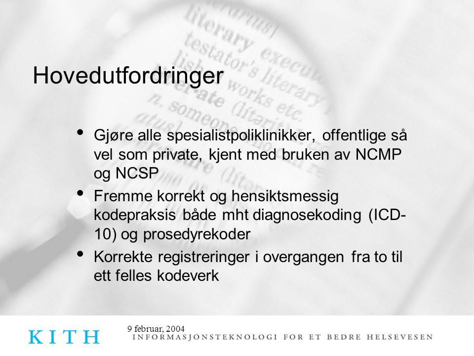9 februar, 2004 Hovedutfordringer • Gjøre alle spesialistpoliklinikker, offentlige så vel som private, kjent med bruken av NCMP og NCSP • Fremme korre