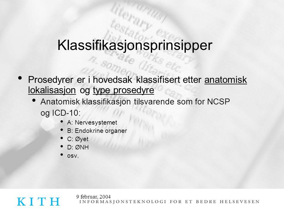 9 februar, 2004 Klassifikasjonsprinsipper • Prosedyrer er i hovedsak klassifisert etter anatomisk lokalisasjon og type prosedyre • Anatomisk klassifik