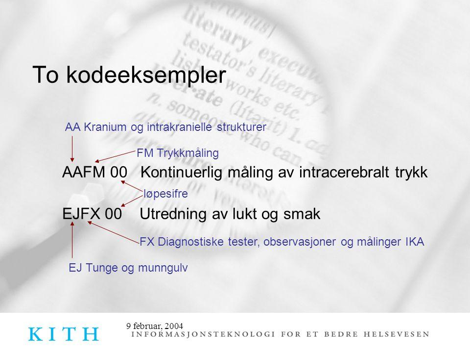 9 februar, 2004 To kodeeksempler AAFM 00 Kontinuerlig måling av intracerebralt trykk EJFX 00 Utredning av lukt og smak AA Kranium og intrakranielle st