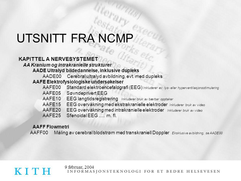9 februar, 2004 UTSNITT FRA NCMP KAPITTEL A NERVESYSTEMET AA Kranium og intrakranielle strukturer AADE Ultralyd bildedannelse, inklusive dupleks AADE0
